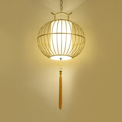 Outdoor Lantern Suspended Light Rattan Asian Black/Gold Ceiling Pendant with Adjustable Cord