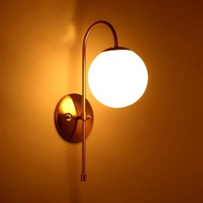 Rustic Globe Shape Wall Light Glass Single Light White Wall Sconce for Kitchen Study