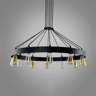 Rustic Round Chandelier Light 8/12 Lights Metal Hanging Pendant with Cord in Black