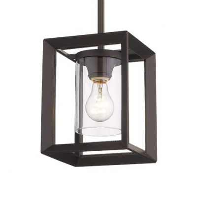 Square Suspended Light Fixture Kitchen Single Light Rustic Hanging Lamp in Black for Dinging Room