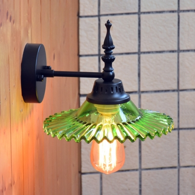 Vintage Sconce with Clear/Green Saucer Shape Single Light Metal Sconce Wall Light