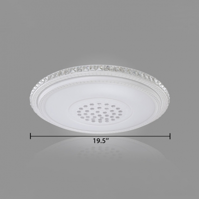 White Round Flush Light with Clear Crystal Decoration Modern Acrylic LED Ceiling Lamp for Living Room