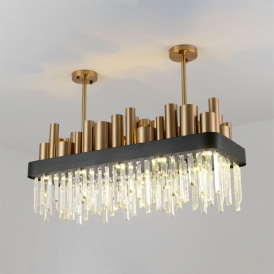 Metal Rectangle Chandelier Modern Hanging Chandelier with Clear Crystal Decoration in Gold