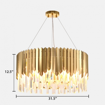 Contemporary Drum Chandelier Light 8/12 Lights Metal Chandelier with Clear Crystal in Brass