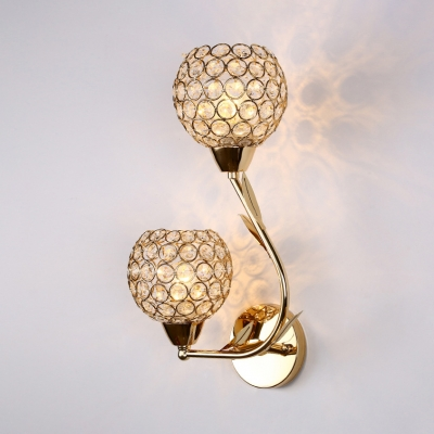 Clear Crystal Globe Sconce Lighting 2 Lights Contemporary Style Gold/Silver Wall Light Fixture for Bedroom