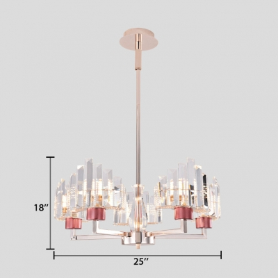 Contemporary Chrome Chandelier Light with Clear Crystal Shade 3/5 Lights Pendant Lighting Fixture
