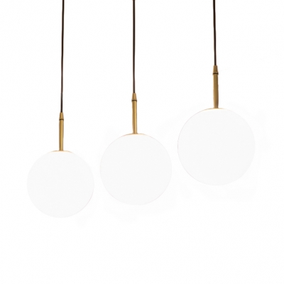 Frosted Glass Orb Pendant Light One Light Modern Hanging Light in Brass