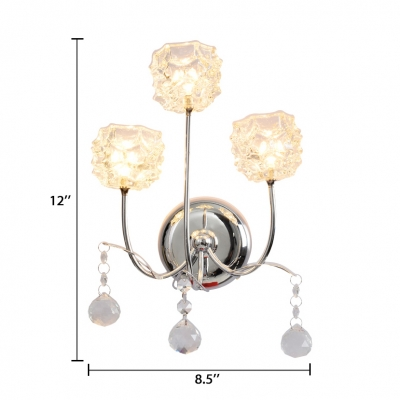 Glass Floral Wall Lighting 3-Light Modern Style Sconce Light in Chrome with Clear Crystal