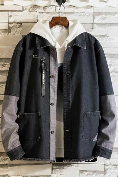 Guys Cool Letter Applique Back Ribbon-Embellished Frayed Hem Loose Casual Denim Jacket