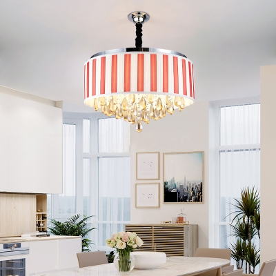 Height Adjustable Drum Chandelier with Cord Dining Room 6/8 Lights Modern Light Fixture in Black/Red