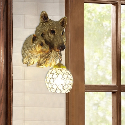 Living Room Globe Sconce Light with Wolf Decoration Rustic Yellow/White Wall Lamp