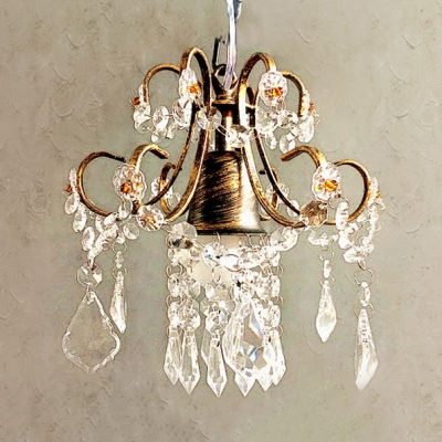 Mini Pendant Light with Clear Crystal and 12