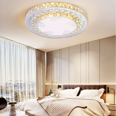 Modern Drum Flush Mount Light Clear Crystal LED Ceiling Fixture in Chrome for Living Room
