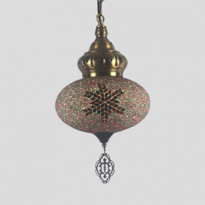 Moroccan Globe Hanging Lamp 1 Light Glass Pendant Light in Antique Brass for Hallway