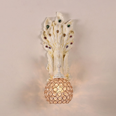 Peacock Bedroom Wall Lamp Clear Crystal 1 Light Vintage Wall Sconce in White/Yellow/Green