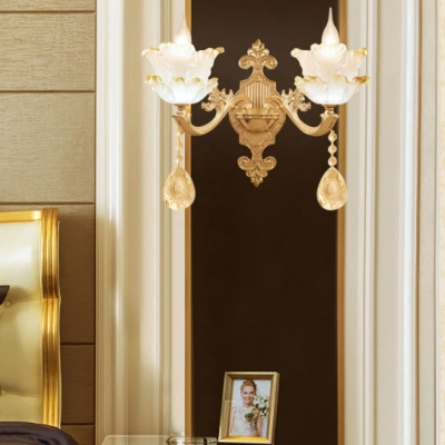Petal Sconce with Clear Crystal Dining Room 1/2 Lights Traditional Wall Light in Gold