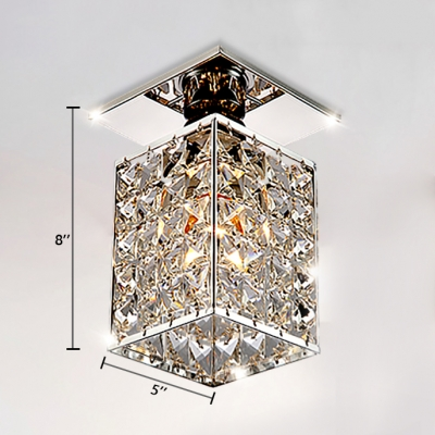 Rectangle Ceiling Light Fixture 1 Light Modern Style Clear Crystal Semi Flush Mount Lighting, 8