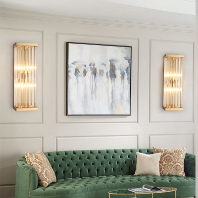 Rectangle/Cylinder Bathroom Wall Sconce Clear Crystal 2 Lights Contemporary Sconce Light in Brass
