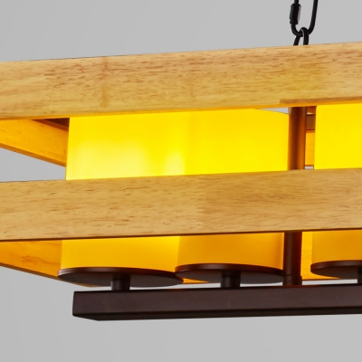 Rectangle Kitchen Island Pendant Wood Height Adjustable Industrial Island Light with 31.5