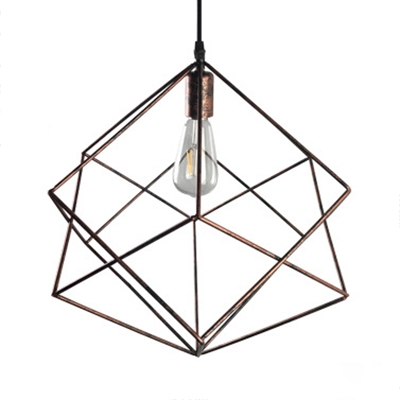 Single Light Geometric Pendant Light Antique Length Adjustable Metal Ceiling Light for Kitchen in Silver/Rust HL514662 фото