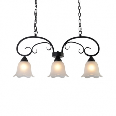 Vintage Bell Pendant Lights Glass 3 Lights Height Adjustable White Island Lamp with 29.5