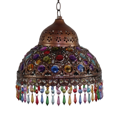 Vintage Bronze/Copper Suspended Light with Dome Single Light Colorful Crystal Hanging Lamp