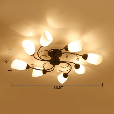 4/6/8 Lights Flower Ceiling Lamp Modern Acrylic Semi-Flush Mount Light with Clear Crystal in White