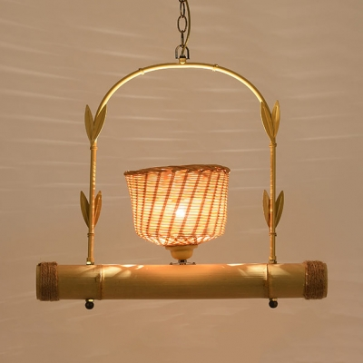 1/2/3-Light Bowl Hanging Lights Country Style Hand Knitted Chandelier in Beige with 19.5