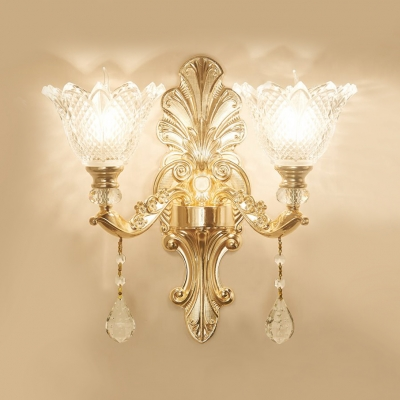 Antique Style Floral Sconce Lighting Glass 1/2 Lights Wall Mount Light with Clear Crystal Decoration for Hallway