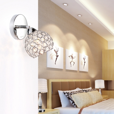 Ball Sconce Light for Bedroom One-Light Antique Style Clear Crystal Wall Lighting in Chrome, H8