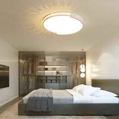 Bedroom Drum Led Flush Mount Light Acrylic Modern Overhead Lighting In