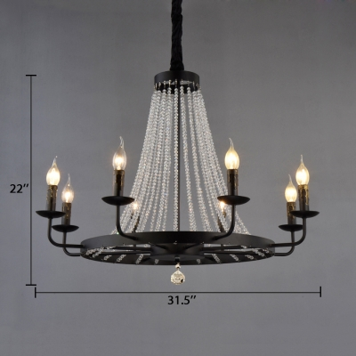 Candle Dining Room Chandelier Metal Colonial Hanging Light in Black with Crystal Strands Decoration