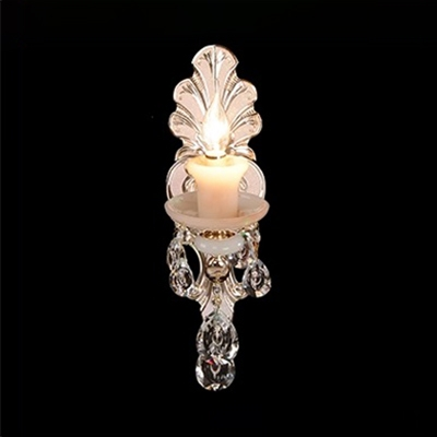 Classic Candle Wall Lamp Metal 1/2 Lights Gold Wall Sconce with Clear Crystal for Bedroom