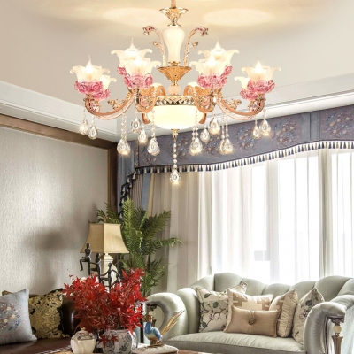 Classic Flower Wall Lamp Clear Crystal 6/8/10/12/15 Lights Gold Sconce for Living Room
