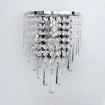 Clear Crystal Chandelier 1 Light Modern Flush Mount Wall Light in Nickel for Bedroom