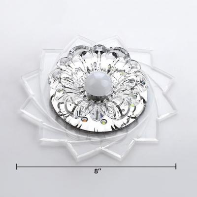 Clear Crystal Flower Flush Mount Light Modern Ceiling Lamp in White for Living Room