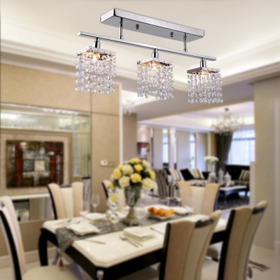 Clear Crystal Rectangle Semi Flush Mount Lighting 3-Light Contemporary Style Ceiling Light for Kitchen