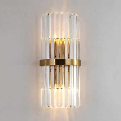 Clear Crystal Wall Mounted Light 2 Lights Contemporary Style Sconce Lighting for Bedroom