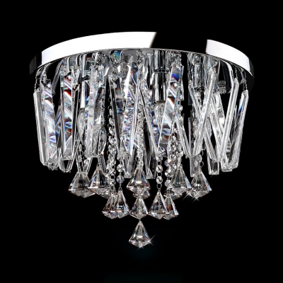 Contemporary Style Clear Crystal Flush Mount Light 3 Lights Ceiling Lighting in Chrome, White/Warm