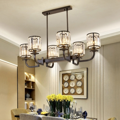 Cylinder Chandelier Dining Room 6 Lights Contemporary Clear Crystal Pendant Lighting Fixture in Black