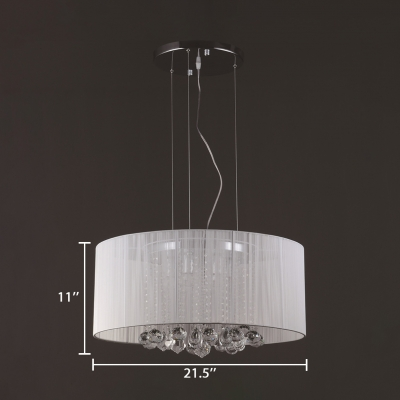 Dining Room Round Chandelier Clear Crystal Decoration Modern Black/White Light Fixture with 39