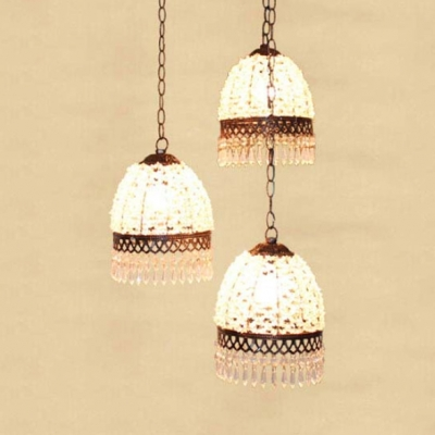 Domed Shape Pendant Light Fixture Dinging Room 3 Lights Traditional Hanging Lamp with Crystal and Round/Linear Canopy
