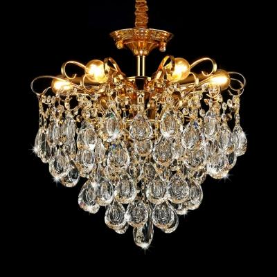 European Crystal Pendant Light 5/6/8 Lights Hanging Light Fixture in Gold for Dining Room