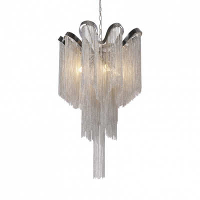 Flower Living Room Chandelier Metal 4 Lights Contemporary Hanging Lights in Chrome