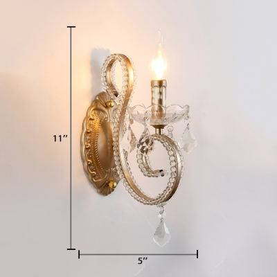 Hallway Candle Wall Mounted Light Metal Antique Style Aged Brass Sconce Lighting with Clear Crystal