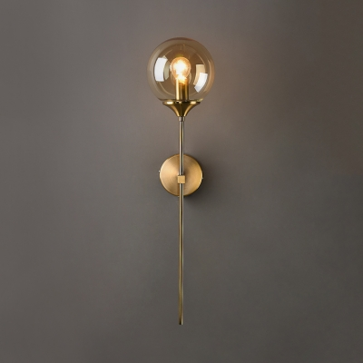 Industrial Globe Sconce Light Single Light Metal Wall Lamp in Gold for Dining Room