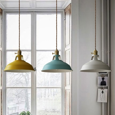 ... Industrial Hanging Pendant Light With Colorful Barn Shade 1 Light  Pendant For Dining Table Restaurant Kitchen