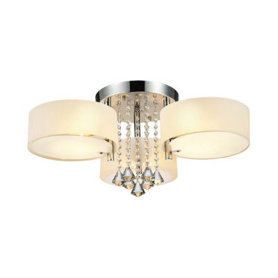 Living Room Drum Semi Flush Light Acrylic Modern Style Ceiling Lighting with Clear Crystal Decoration HL510272 фото