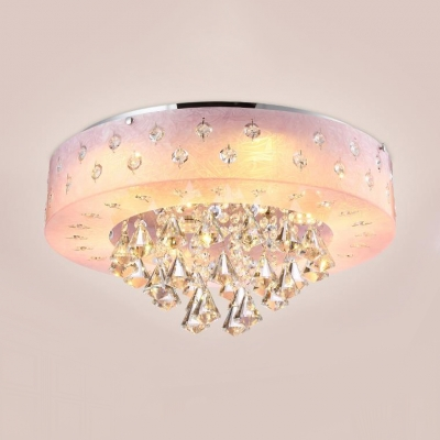 Living Room Round Ceiling Lamp Clear Crystal Modern White Flush Mount Lighting in White/Pink