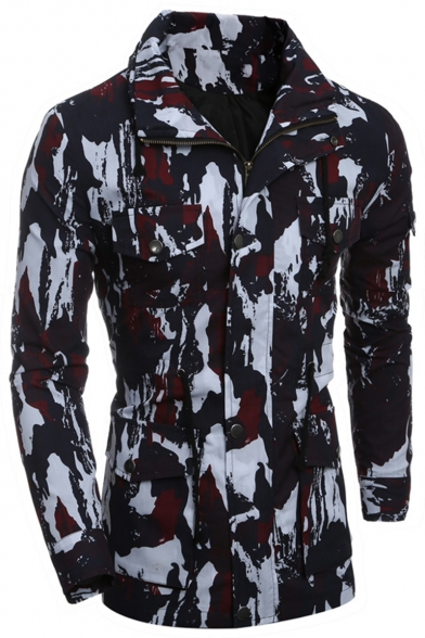 Men's Casual Unique Camouflage Printed Concealed Zip Closure with Press-Stud Placket Multi-Pockets Drawstring Waist Slim Work Jacket